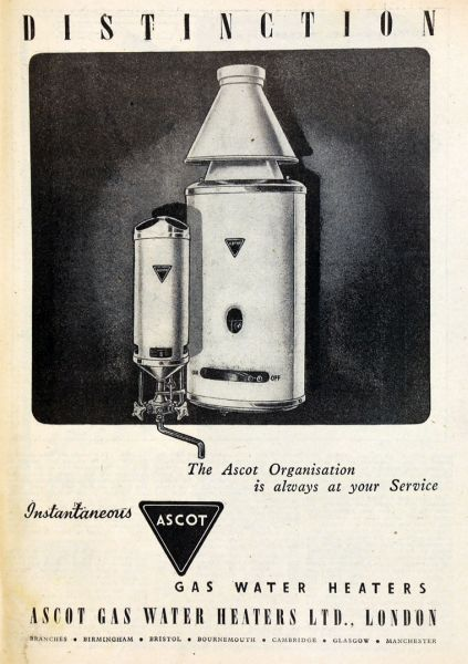 The Home Heating Shop - using portable Heaters - Ascot wall mounted water heaters 1950s