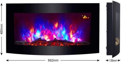 Home Heating Shop electric fire trueflame multi colored glass fronted wall mounted fire size